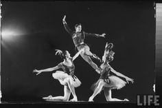 "Dancers Jacques D'Amboise (C), Patricia McBride (L) & Suki Schorr (R) in NYCB production of ""Stars & Stripes"" at New York State Theater. New York . May 19, 1965 . Photo by Gjon Mili"