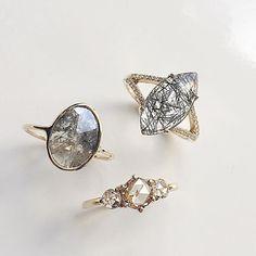 Shards of tourmaline in our Mau Ring, paired back to our classic Diamond Slice Ring and Tidals Ring #alternativebride #rosecutdiamonds #diamondring #diamondslice #tourmalinatedquartz #madeinnyc #valejewelry