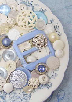 Sweet Pale Blue and White Vintage Buttons
