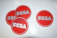 SEGA set of 4 Circle Coasters ..Matt Red Perspex with Matt Silver Graphics...£14.95 + Delivery... see www.mojo-shop.co.uk for more details