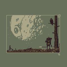 Our hero leaves in moonlight & grabs their trusty spear, who needs a sword? #pixelart #pixel_dailies @Pixel_Dailies