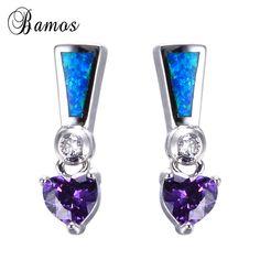 Bamos Women Purple Heart Stud Earring Blue Fire Opal Earrings 925 Sterling Silver Earrings For Women Fashion Jewelry