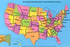 """In 1973, a geography professor proposed reducing the number of states to 38. Here's what that would look like."""
