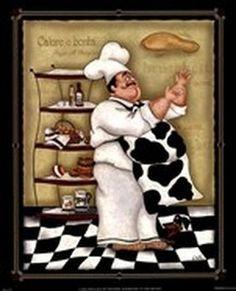 Tossing Chef by Dena Marie art print Decoupage Vintage, Decoupage Paper, Vintage Diy, Chef Kitchen Decor, Kitchen Themes, Kitchen Art, Chef Pictures, Kitchen Pictures, Kitchen Pics