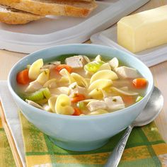30-Minute Chicken Noodle Soup Recipe -This great soup is perfect for a cold, wintry day. It is my favorite thing to eat when I'm not feeling well; it makes me feel so much better. —Lacy Waadt, Payson, Utah