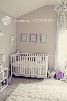 AB's purple, white and grey nursery.