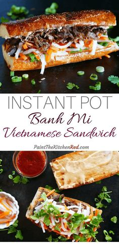 Instant Pot Banh Mi is a Vietnamese Pork Sandwich that has an explosion of flavors. This Asian sandwich is assembled on toasted French bread or baguette with pork, pickled vegetables, and fresh herbs. Bring the flavors of your favorite banh mi food truc Sandwich Au Porc, Roast Beef Sandwich, Sandwiches, Sandwich Recipes, Baguette Sandwich, Chicken Sandwich, Vietnamese Sandwich, Gastronomia, Asian Food Recipes