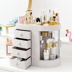 Makeup Storage Organization, Cosmetic Storage, Makeup Storage Drawers, Beauty Storage Ideas, Make Up Organization Ideas, Bathroom Product Organization, Vanity Table Organization, Diy Makeup Organizer, Makeup Organization