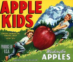 This fruit crate label was used on Apple Kids, c. 1950s