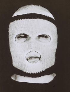 Artist: Chris Burden Title: You'll Never See My Face in Kansas City Date: 1971 Medium: Ski mask, description card Fight Club Book, Clayton Cubitt, Cool Masks, Jasper Johns, Feminist Art, Punk, Balaclava, Museum Of Modern Art, Land Art