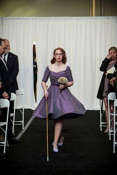 Vision-impaired bride rocking a purple dress and one of the COOLEST canes I've ever seen. Down the Aisle by ElsaWolf, via Flickr