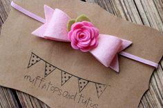 Felt bow headband - baby, toddler, girs bow headband - felt flower headband - valentines headband