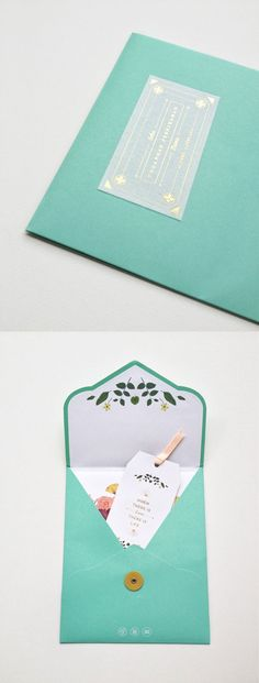 Unusual envelope size, lined, beautiful attention to detail, not to mention the little business card.