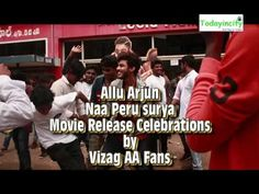 Allu Arjun Vizag Fans Crazy at Movie Theaters   Naa Peru Surya Movie Rel...