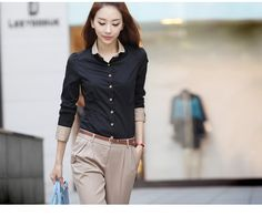 Limited Freeshipping Pockets Regular Solid New Women Silm Sleeve Blouse Business Tops Shirt Office Lady Turn Down Collar #C5
