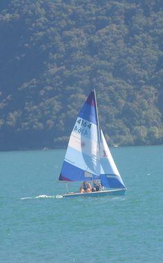 Practicing sailing in the Lake of Lugano-Switzerland