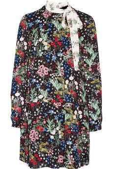 Valention - all so lovely this season! Valentino Floral-print silk-georgette mini dress | NET-A-PORTER