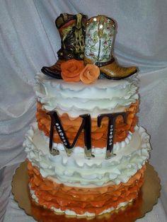 Lace wedding cake. Cowgirl style