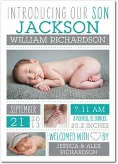 Pretty gray and turquoise birth announcement.