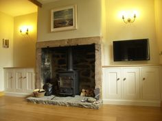 American oak interiors with solid tulipwood painted doors and fascias. Fitted Cabinets, Painted Doors, Fireplaces, Snug, Interiors, American, House, Furniture, Home Decor