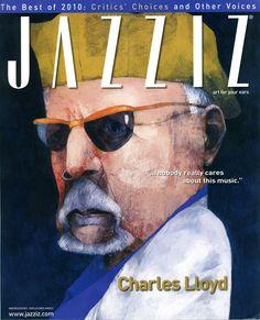 JAZZIZ #02 2011. Cover Charles Lloyd. Graphic design by Jonathan Twingley.