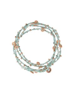 - Description - Artisan - Hang Tag Rose gold colored beads mingle with braided mint thread to create a delicate bracelet that's designed to be wrapped around the wrist four or five times. * Two loop h