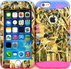 """Amazon.com: Yellow,Green and Pink """"Grass Foliage Ducks with Non-Slip Grip Texture"""" 3 Piece Layered ULTRA Tuff Custom Armored Hybrid Case for the NEW iPhone 6 Plus 5.5"""" Inch Smartphone by Apple {Made of Soft Silicone Gel and Hard Rubberized Plastic with External Built in Kickstand} """"All Ports Accessible"""": Cell Phones & Accessories"""