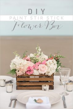 DIY Paint Stir Stick Flower Box | wedding diy | centerpiece ideas | wedding florals | #weddingchicks