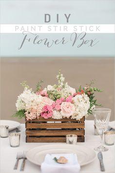 DIY Paint Stir Stick Flower Box | wedding diy | centerpiece ideas | wedding florals | #weddingchicks