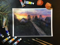 Evening in the village Art Print. Watercolour Painting of Sunset, Nature art. Nature Lover Gift. Landscape. The Sky.