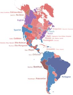"Where place names come from in the Americas: This map shows the origin language for place names in the Americas. For example, the word ""Texas"" comes from the Caddoan language, of the Caddo people who lived in what is today East Texas."