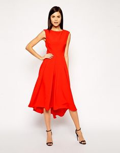 Midi Dress with Dipped Hem and Full Skirt