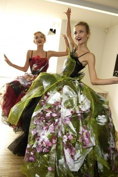 Lily Donaldson and Natasha Poly backstage at Dolce and Gabbana