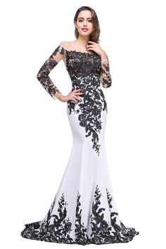 online shopping for OYISHA Womens Appliqued Evening Dress Long Mermaid Wedding Celebrity Gown from top store. See new offer for OYISHA Womens Appliqued Evening Dress Long Mermaid Wedding Celebrity Gown Black And White Evening Dresses, Black Wedding Dresses, Wedding Dress Sleeves, Dress Black, Sleeve Dresses, Black Gowns, White Dress, Lace Sleeves, Mermaid Prom Dresses Lace