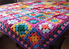 Crochet Blanket Distinctive Granny Squares Afghan Bright Vivid Colors (135.00 GBP) by Thesunroomuk