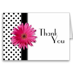 Thank you card thank you very much card modern typography thank pink daisy black white polka dot wedding thank you thank you greeting cardswedding m4hsunfo