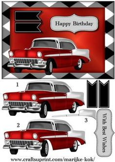 Male card Vintage Car on Craftsuprint designed by Marijke Kok - Great male card for any occasion! - Now available for download!