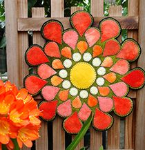 Dahlia Wool Applique Candle Mat at Wooly Lady