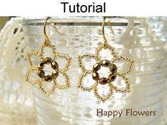 Beadweaving Flower Earrings Jewelry, PDF Tutorial Pattern Instructions Beaded Flowers Beading Patterns Beaded Tutorials Earring Pattern #417...