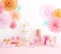 Pick Your Colors // weddings // birthdays// party decorations // candy dessert buffet table // peach coral aqua Pink Dessert Tables, Dessert Buffet, Dessert Bars, Orange Dessert, Dessert Ideas, Party Buffet, Table Party, Pink Candy Buffet, Candy Table