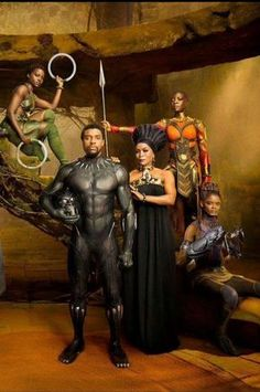 Nakia, T'Challa, Ramonda, Okoye, and Shuri- Black Panther Black Panther Marvel, Shuri Black Panther, Black Panther 2018, Nakia Black Panther, Black Panther Movie Cast, Female Black Panther, Black Panther Drawing, Black Panther Shirt, Black Panther Costume