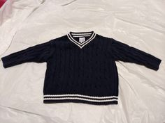 4032852788e Boys GAP V Neck Sweater cable knit Navy ribbed trim 18-24 months GUC