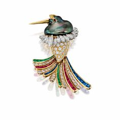 BAROQUE CULTURED PEARL, DIAMOND AND GEM-SET 'BIRD' BROOCH, MOUAWAD