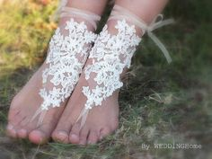 bridal anklet, ivory Beach wedding barefoot sandals, bangle, wedding anklet, free ship, anklet, bridal, wedding from WEDDINGHome on Etsy.