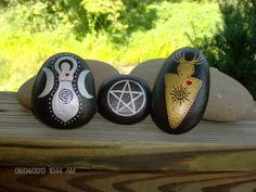God, Goddess, and Pentacle Altar/Ritual Stone Set. Witch Wiccan Pagan craft inspiration