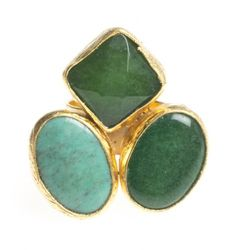 24K Yellow Gold Plated Turquoise Howlite Chalcedony Green Tonal Natural Three Stone Adjustable Ring Modern Curated Collection,http://www.amazon.com/dp/B00JHAEVE0/ref=cm_sw_r_pi_dp_dgxEtb06B5H7B5WK #Handmade #Jewelry #Vintage #Antique #Design #Gemstone #Natural #Stone #Adjustable #Ring #ChicBahar