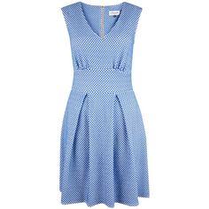 Closet Polka Dot V-Neck Dress , Blue (5.070 RUB) ❤ liked on Polyvore featuring dresses, blue, blue mini skirt, long-sleeve mini dress, polka dot dress, v neck maxi dress and skater dress