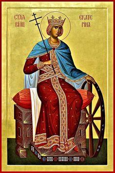 Byzantine Icons, Byzantine Art, Religious Icons, Religious Art, Saint Catherine Of Alexandria, Orthodox Catholic, Roman Church, Religious Paintings, Patron Saints