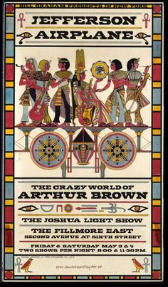 Fillmore poster for Jefferson Airplane and The Crazy World of Arthur Brown.  Artwork by David Byrd, watercolour on board, 1968.