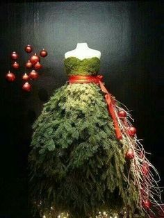 mannequin dressed in moss and pine christmas - Google Search
